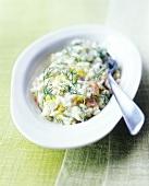 Dillrisotto mit geräuchertem Lachs und Zitronenzesten
