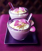 Rice pudding with rose water, cinnamon and rose petals