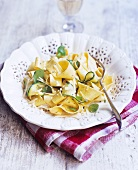 Ribbon pasta with courgettes, Parmesan and basil