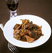 Venison ragout with red wine sauce