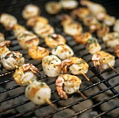 Shrimp and scallop kebabs on the barbecue