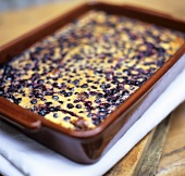 Baked blueberry pudding