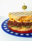 Pastrami sandwich in sesame toast on plate with US colours