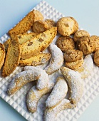 Biscotti, macaroons and vanilla crescents