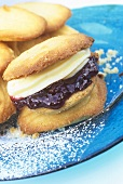 Biscuits with jam and cream filling