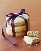 Shortbread biscuits tied with a ribbon