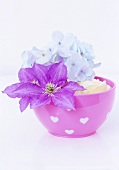Clematis and hydrangea flowers in pink bowl
