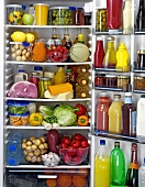 Food and drinks in a refrigerator