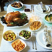 Christmas meal with turkey and accompaniments