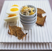 Smoked fish pâté, black bread and boiled eggs