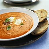 Chilled tomato soup with mozzarella
