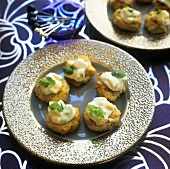 Ginger chicken patties with coriander and mango mayonnaise
