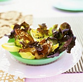 Caramelised shallots on oak leaf lettuce