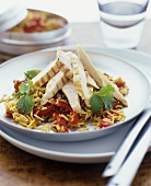 Rice & pepper salad with strips of grilled chicken breast