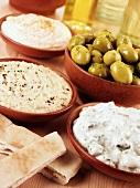 Mezze (appetisers): hummus, tzatziki, taramas, olives