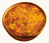 Vegetable soup with noodles in a bowl
