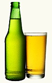 Beer in green bottle and glass
