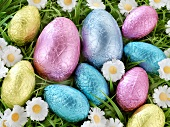 Chocolate Easter eggs in coloured foil in grass