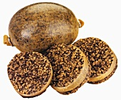 Haggis (Scottish national dish), whole and sliced