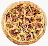 Ham, mushroom and cheese pizza