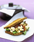 Feta, dried tomatoes and olives in rye bread