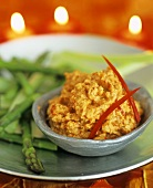 Chick-pea and pepper paste with vegetables
