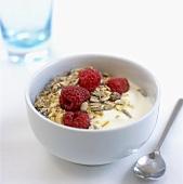 Raspberry muesli with yoghurt