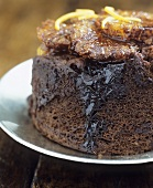 Chocolate and orange sponge pudding (with few calories)
