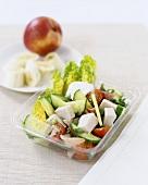 Vegetable salad with tofu and turkey ham