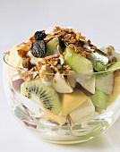 Fruit salad with yoghurt and muesli