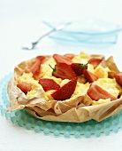Lemon meringue & strawberries in filo pastry shell (low-calorie)