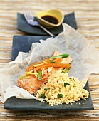 Salmon trout with lemon grass and couscous