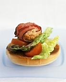 Bacon-wrapped turkey burger