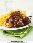 Coq au vin with tinned sweetcorn and mashed potato