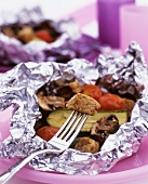 Quorn (meat substitute) with garlic & vegetables cooked in foil