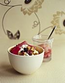 Cinnamon nut muesli with yoghurt and rhubarb compote