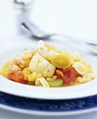 Seafood and vegetable stew with cayenne pepper