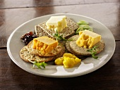 English cheeses with crackers and relish