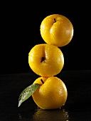 Three yellow plums, in a pile, one on top of the other