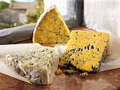 English cheeses: Blue Shropshire, Blue Vinney, Blacksticks Blue