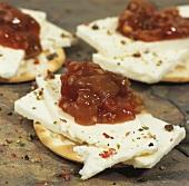 Wensleydale cheese with tomato & onion chutney on crackers