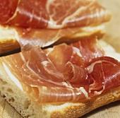 Jamon iberico (Spanish ham) on bread