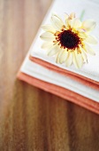 Chrysanthemum on fabric napkins
