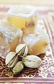 Lokum (Turkish Delight) with pistachios