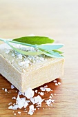 Olive leaves and bath salts on olive soap