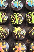 Iced muffins (sun, butterfly and fish)