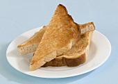 Toast triangles on plate