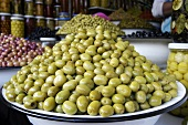 Green olives on a Moroccan market stall