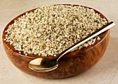 Shelled hemp seeds in a bowl