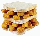 Double-decker fish finger sandwich